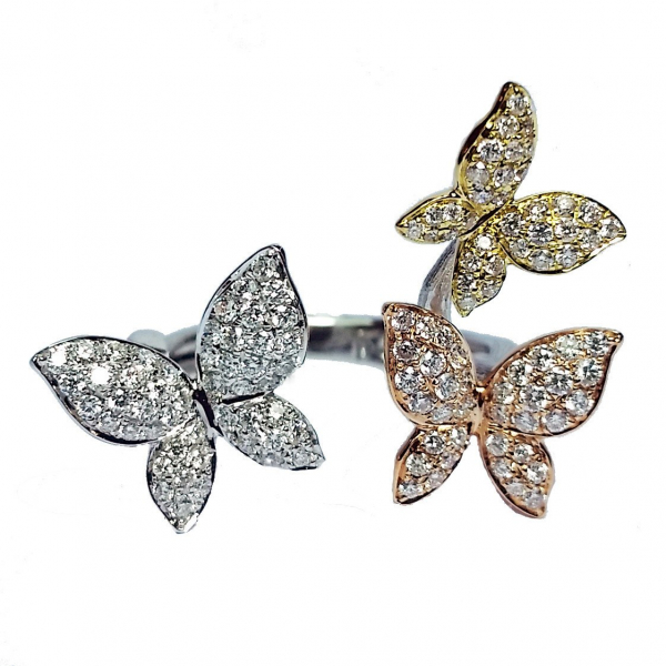 Tricolor Open Diamond Butterfly Ring by Hidalgo