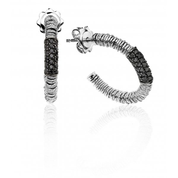 Hoop Earrings with Black Diamonds by Roberto Demeglio