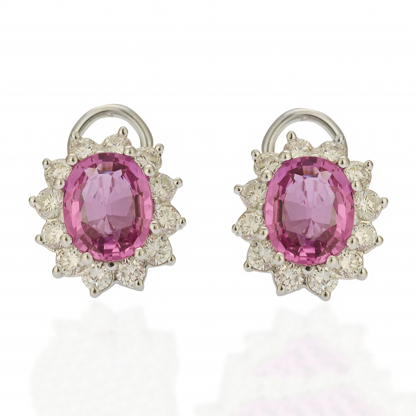 Pink Sapphire Earrings by Estate