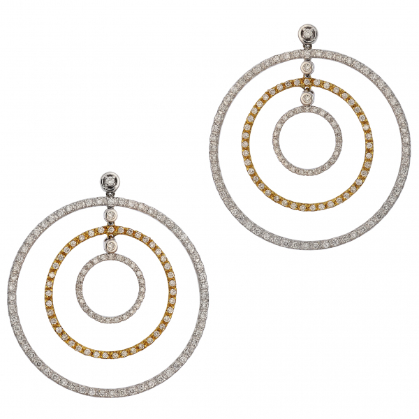 Two Tone Diamond Dangle Earrings by Estate