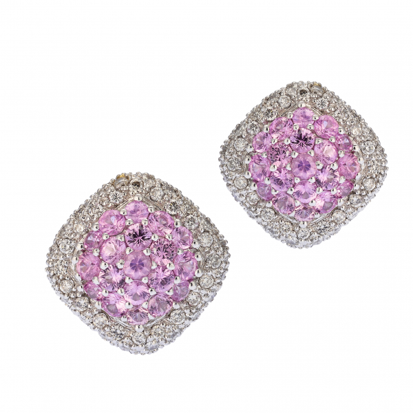 Pave Pink Sapphire Earrings by Estate
