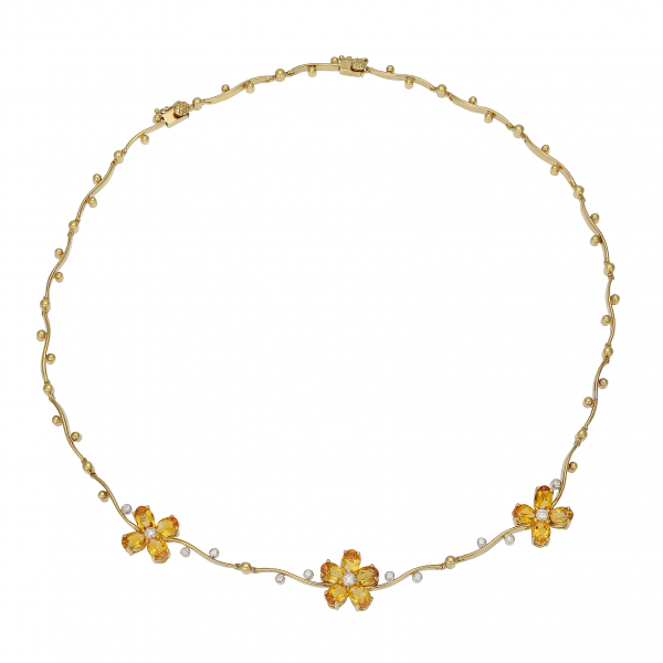 Citrine Flower Necklace by Estate