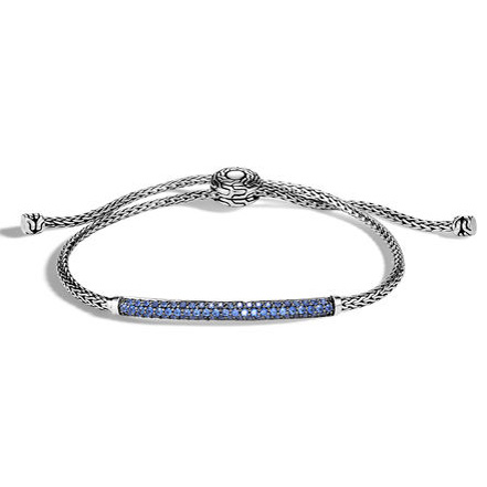 Classic Chain Pull Through Bracelet with Blue Sapphire by John Hardy