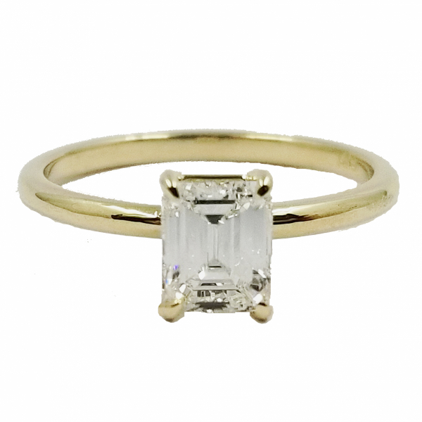 Emerald Cut Diamond Solitaire Ring by Jae