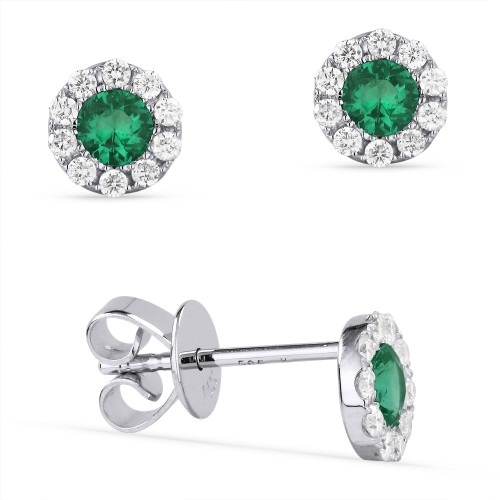 Emerald Halo Stud Earrings by Madison L.