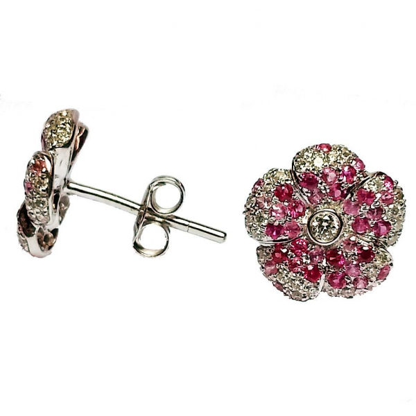 Pink Sapphire Flower Stud Earrings by Hidalgo