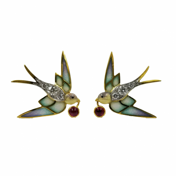 Enamel Bird Earrings by Masriera