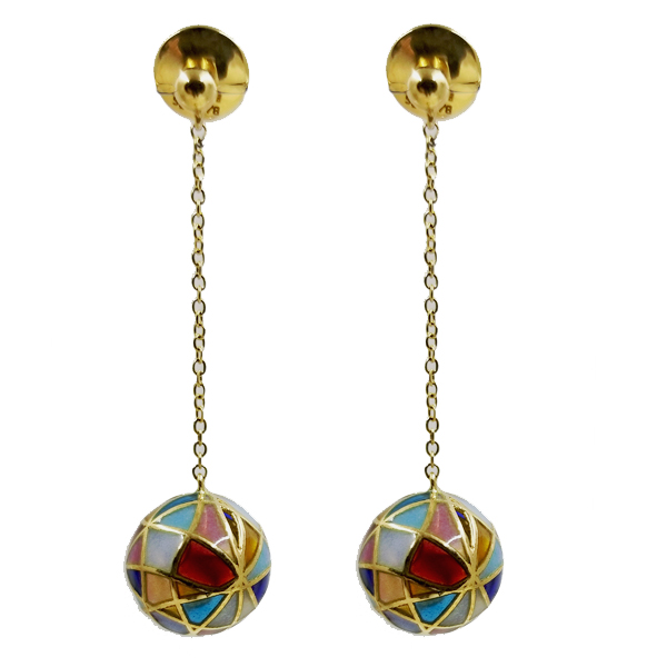 Collage Enamel Ball Drop Earrings by Masriera