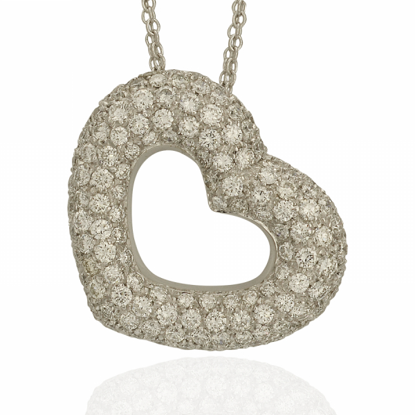 Pave Diamond Heart Necklace by Estate