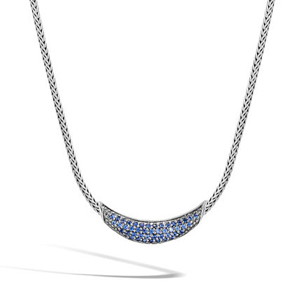 Classic Chain Necklace with Blue Sapphire by John Hardy
