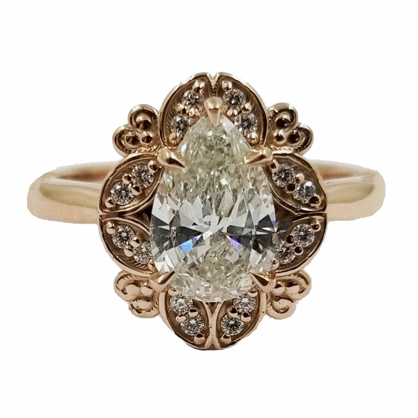 Pear Cut Diamond Ring In Floral Halo by Jae