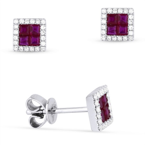 Invisible Set Ruby Stud Earrings by Madison L.