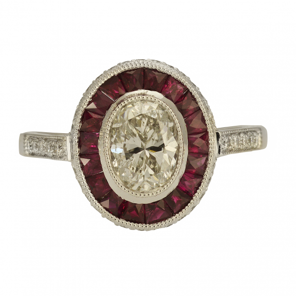 Art Deco Diamond & Ruby Ring by Jae