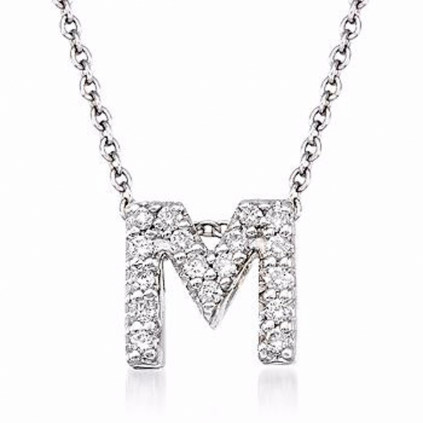 "Tiny Initial ""M"" Necklace by Roberto Coin"